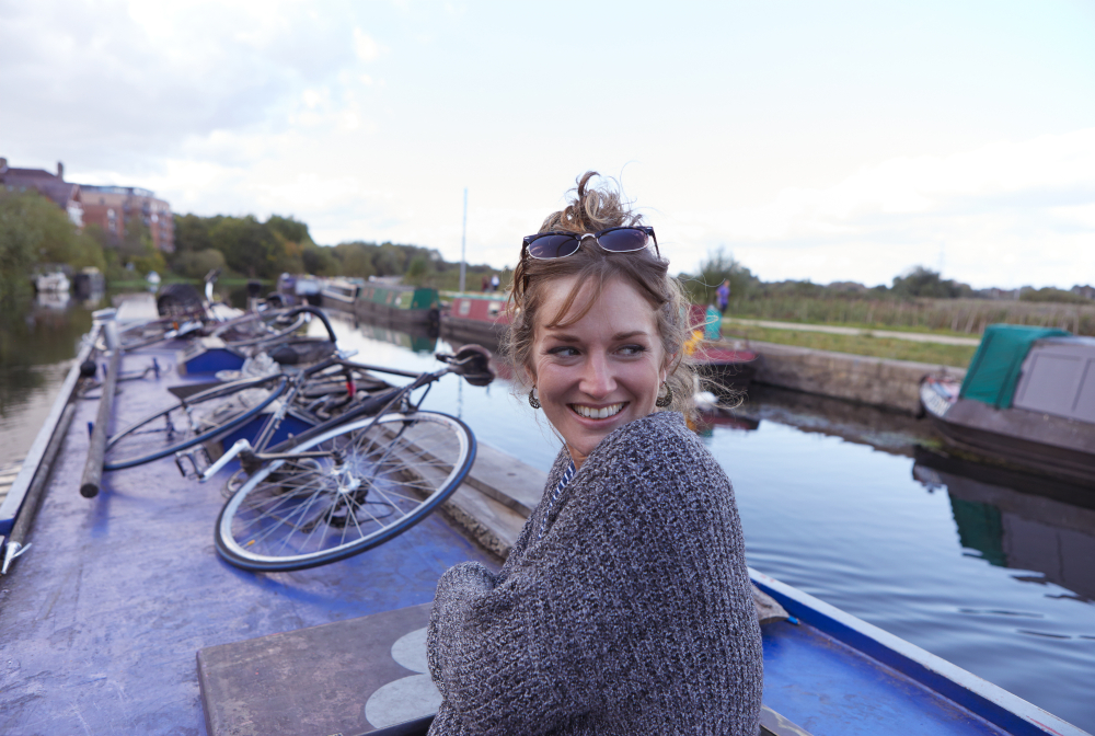 Woman On Canal Boat